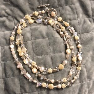 Pearl, silver and crystal beaded necklace